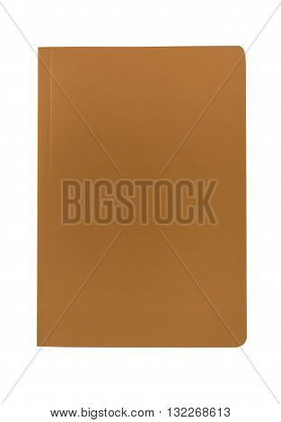 Blank brown paperback book cover isolated on a white background