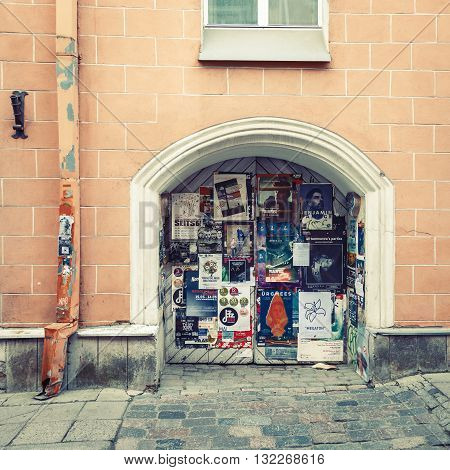Tallinn Estonia - May 29 2016: Wall theater posters in Historical Centre of Tallinn city. Tallin Estonia.