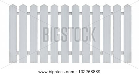 White Wooden Fence Isolated On White