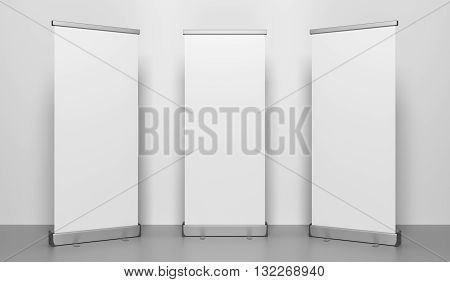 Presentation banners or rollup. 3D rendered Illustration.