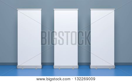 Presentation banners or rollup. 3D rollum Illustration.