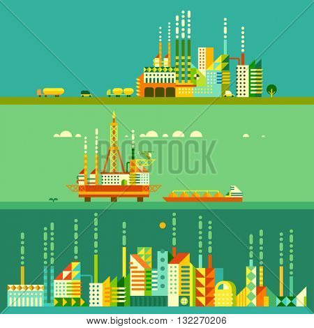 Oil platform in sea background. industry factory. Industrial illustration in flat style. Factory