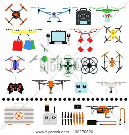 Set of aerial drone quadrocopters icons and emblems isolated on white. Vector illustration drone helicopter toy packing design. Flight controlled security quadrocopters drone helicopter toy.
