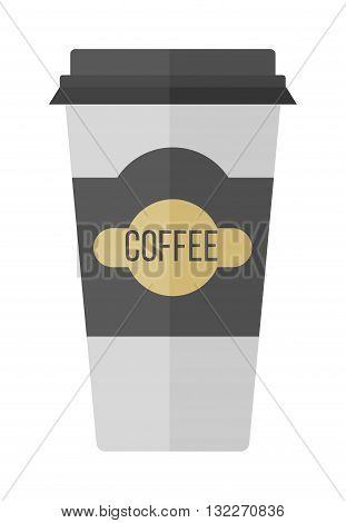 Take-out coffee in thermo cup. Isolated on white coffee cup. Disposable coffee cup icon with coffee beans logo and coffee cup fast food vending. Espresso cappuccino latte container coffee cup.