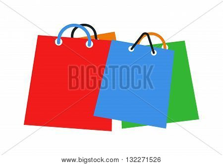 Colourful paper shopping bags isolated on white and shopping bag vector. Shopping bag fashion store empty market merchandise and shopping bag shop commerce package present packet group.