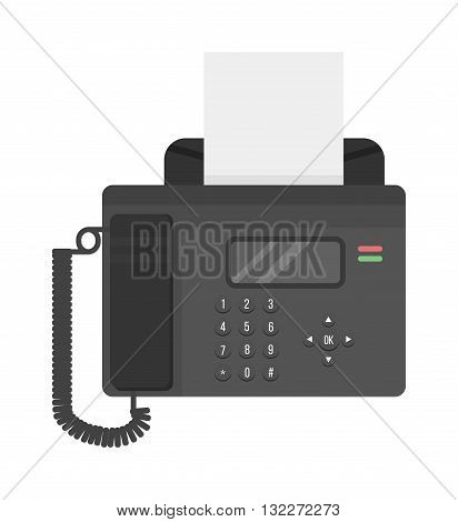 Fax machine office phone equipment telephone, connection office phone, digital fax receiver. Office center phone connection device fax vector. Office phone fax communication technology vector.