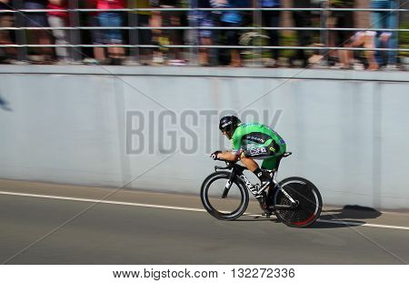 APELDOORN, NETHERLANDS-MAY 6 2016: Sonny Colbrelli of pro cycling team Bardiani - CSF during the Giro d'Italia prologue time trial.