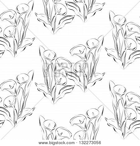 Seamless vector pattern with flowers callas. Black and white background. All elements are not cropped and hidden under mask.