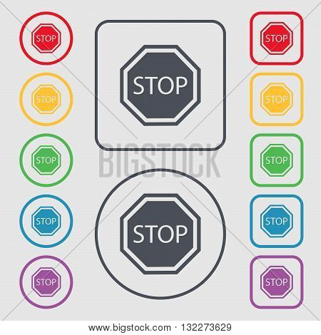 Stop Icon Sign. Symbol On The Round And Square Buttons With Frame. Vector