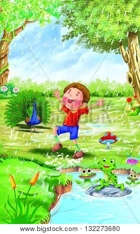 Rain rhyme for kids, Boy Enjoying Rain