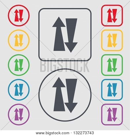 Two Way Traffic, Icon Sign. Symbol On The Round And Square Buttons With Frame. Vector