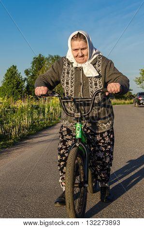 grandmother the pensioner on walk . .
