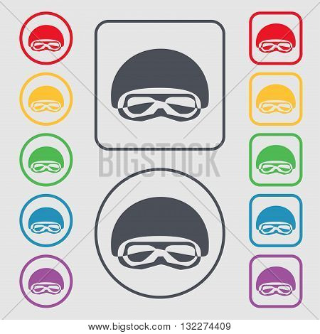 In A Ski Masks, Snowboard Ski Goggles, Diving Mask Icon Sign. Symbol On The Round And Square Buttons