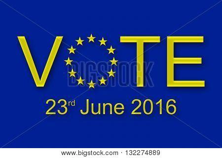 Vote on 23 June 2016 in the European union referendum