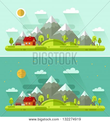 Flat design vector nature summer landscapes illustration with house, bench, sun, hills, mountains, moon, clouds, trees. Day and night landscapes.