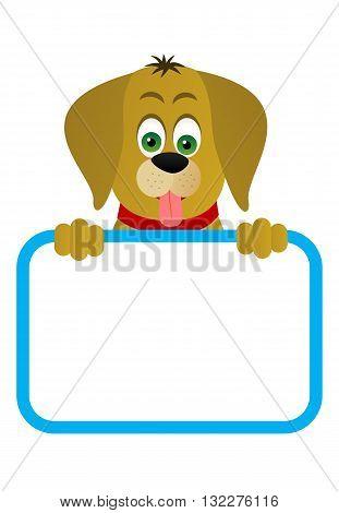 Little cute dog with a blank board