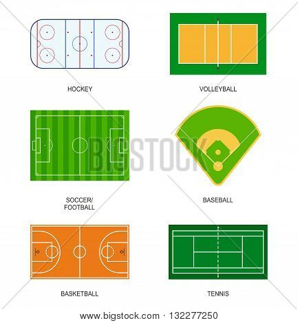 Set of sport fields for games: hockey, volleyball, soccer, football, baseball, basketball and tennis. Playground meadow leisure outdoors league. Ball games field on grass in flat style isolated on white background