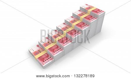 Stairs with seven steps going upwards made of piles of Chinese RMB 3D illustration