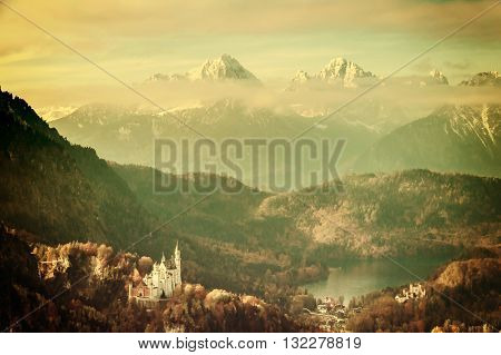 Vintage Landscape With Castels In Mountains