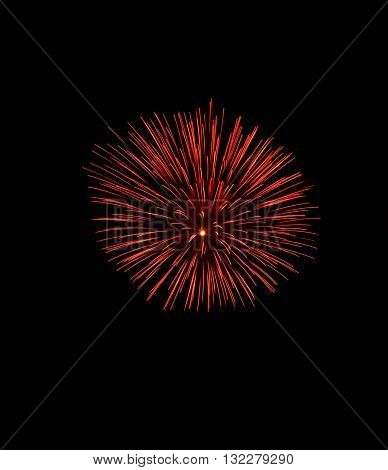 Red fireworks, Fireworks explode, fireworks background, texture. Beautiful fireworks, light show in black background, fireworks background, popular in Malta, New Year, Independence day