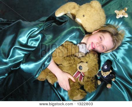In Bed With Teddy Bears