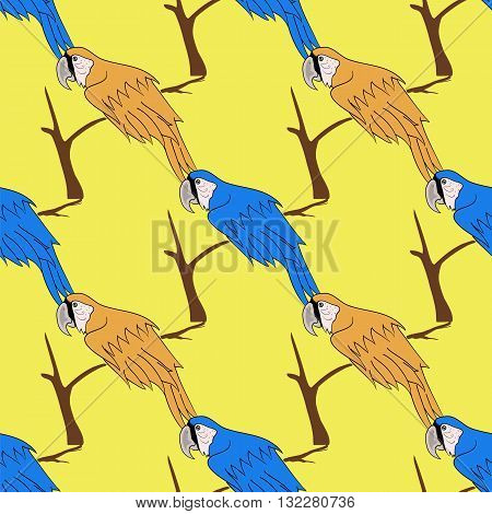 Big Orange and Blue Parrot Isolated on Yelllow Background. Bird Pattern