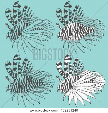 Vector set of illustrations with lionfish. Isolated objects.