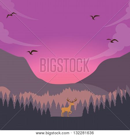 nature scene deer on sunset sunrise in forest majestic sky vector