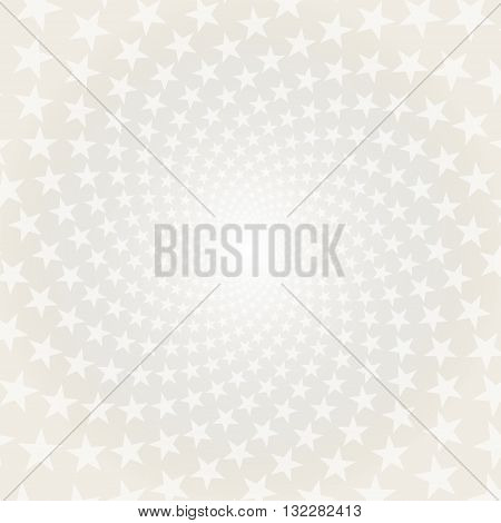 Twisted stars spiral. White & grey abstract background.