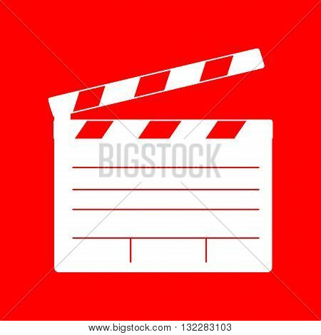 Film clap board cinema sign. White icon on red background.