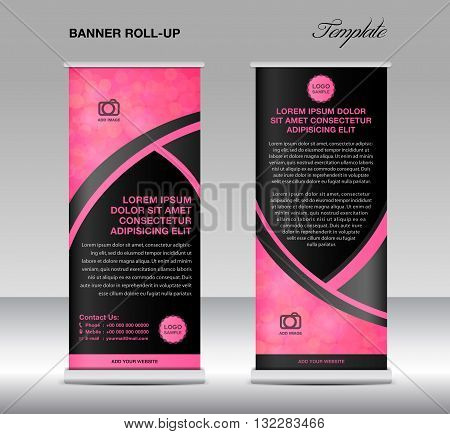 Pink banner stand template stand design banner template PInk banner flyer template advertisement Poster layout template
