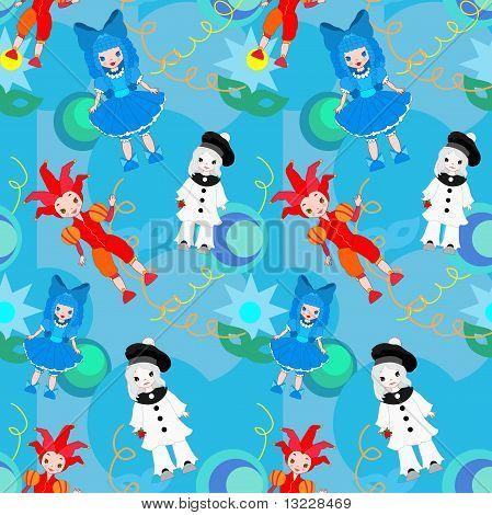 Seamless pattern clowns vector