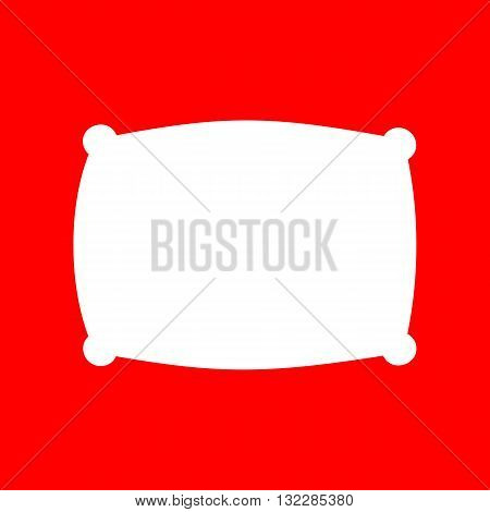 Pillow sign illustration. White icon on red background.