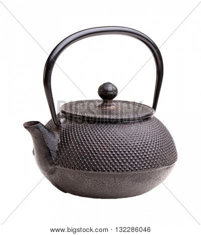 classic japanese iron kettle on white
