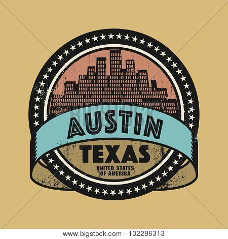 Grunge rubber stamp or label with name of Austin, Texas, vector illustration