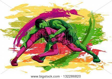 Concept of sportsman doing Wrestling. Vector illustration