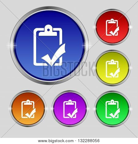 Document Grammar Control, Test, Work Complete Icon Sign. Round Symbol On Bright Colourful Buttons. V