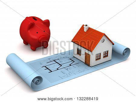 Architectural Drawing House Piggy Bank