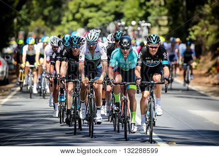 MELBOURNE, AUSTRALIA - FEBRUARY 7: The peloton entering Red Hill in Stage 4 on the final day of the Jayco Herald Sun Tour 2016