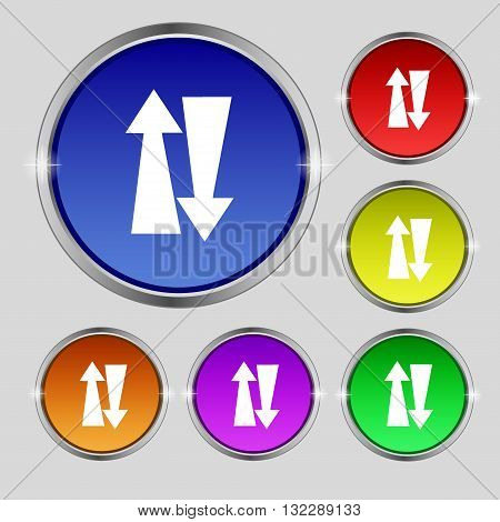 Two Way Traffic, Icon Sign. Round Symbol On Bright Colourful Buttons. Vector