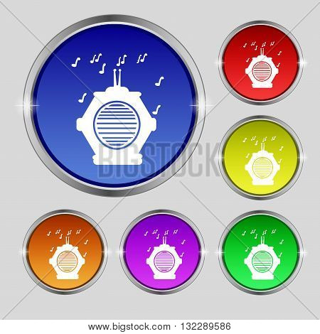 Old Analog Radio Icon Sign. Round Symbol On Bright Colourful Buttons. Vector