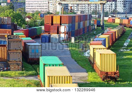 Shipping Containers in Cargo Railway Classification Yard
