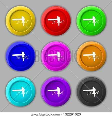 The Smithy. Forge And Stithy, Blacksmith Icon Sign. Symbol On Nine Round Colourful Buttons. Vector