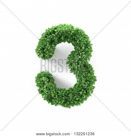 Green Leaves 3 Three Ecology Digits Alphabet Font