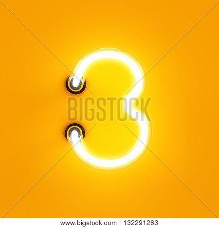 Neon Light Digit Alphabet Character 3 Three Font