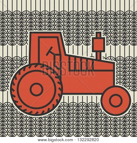 Red Tractor icon or sign, vector illustration
