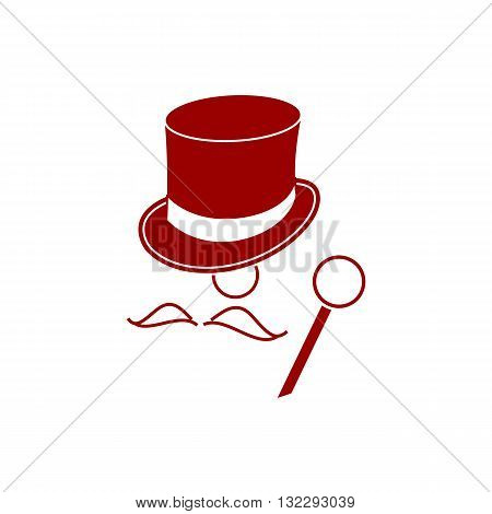 Red baron mister with heat mustache and stick vector illustration isolated on white background.