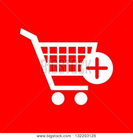 Shopping Cart with add Mark sign. White icon on red background.