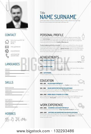 Vector original minimalist cv / resume template - creative version on folded paper with clipped photo profile