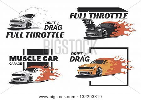 Set of muscle logo badges and emblems isolated on white background. Service car repair car restoration and car club design elements. T-shirt design. American muscle car for printing.